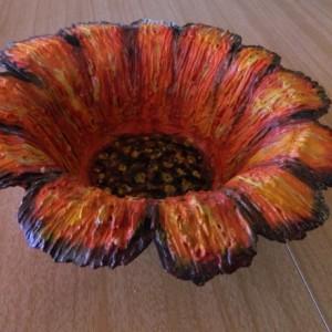 Floral Design Paper Mache Art Bowl