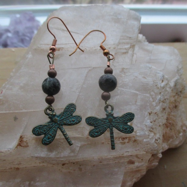 Dragonfly earrings with Ruby in Zoisite.