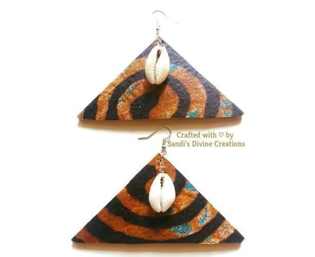 African Cowrie Earrings, Ankara Earrings, Cowrie Earrings, African Print, Cowrie Shell Earrings, Ankara Fabric, Tribal Shell Earrings, Cowry