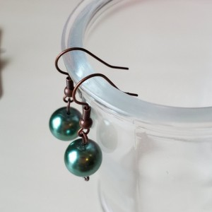 Beautiful Handmade Green and Bronze Drop Dangle Earrings