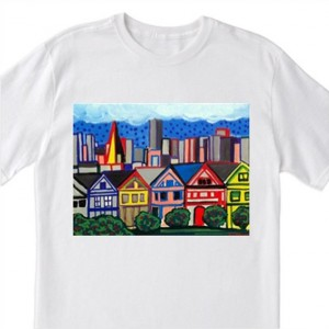 San Francisco Painted Lady Victorians- 100% Cotton T-Shirt for Men, Women & Youth by A.V.Apostle
