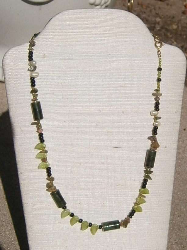 Green multi bead necklace