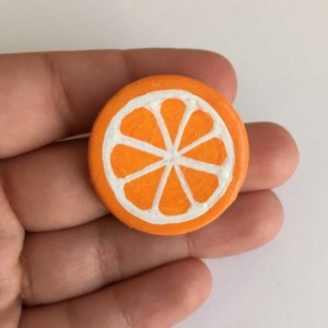 Handmade Brooch Orange Pin Clay Fruit Slice Artisan Jewelry Accessory
