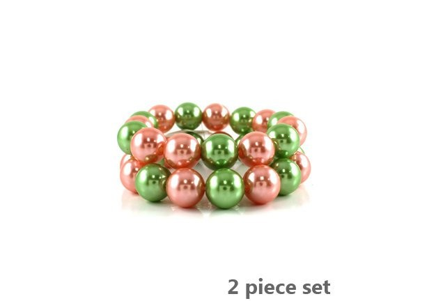 Pink and Green Pearl AKA 2 Piece Stretch Bracelet