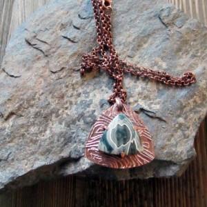 Triangular Copper Metal Clay And Ocean Jasper Pendant