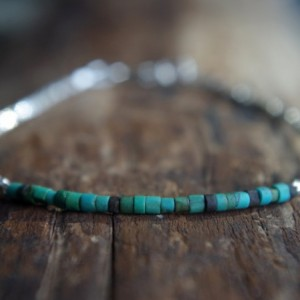 Hill Tribe Silver and Turquoise bracelet - Tiny bracelet - Delicate bracelet - Minimalist bracelet - Ready to ship - 7 inches