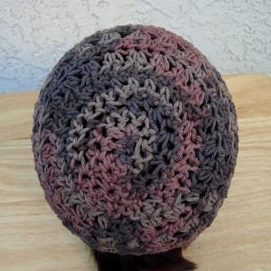 Dark Brown & Rust 100% Cotton Lacy Summer Beanie, Women's, Men's Lightweight Hat, Chemo Cap, Crochet Knit Lace Skullcap, Ships in 3 Biz Days