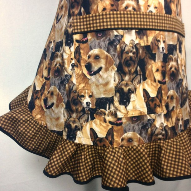 ... Dog Apron For Women , Retro Kitchen Decor With Brown Check Ruffle ,  Adjustable With Pocket