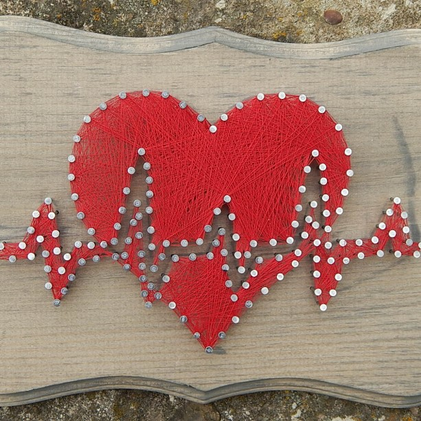 Heartbeat String Art Heart With Heartbeat Aftcra