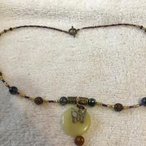 "Papillon handmade beaded necklace Mariposa 21"" long"