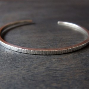 Solid Recycled Sterling Silver, Graved Skinny Cuff Stacking Braclelet
