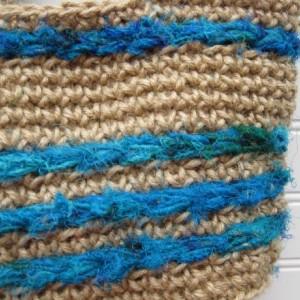 Natural Jute and Aqua Sari Silk Purse/Handbag - Handmade in the USA by Twisted Blossom Design