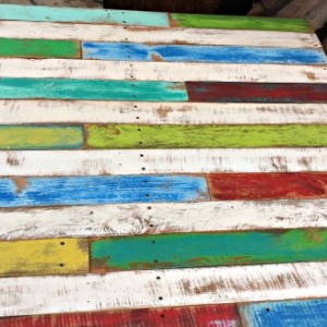 Handcrafted Reclaimed Wooden Whitewashed Multi Colored Pallet Coffee Occasional Table