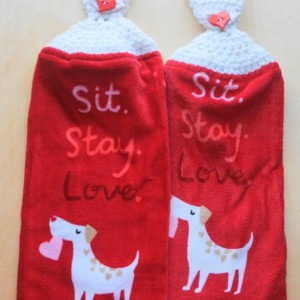Doggy Love Crochet Kitchen Towel