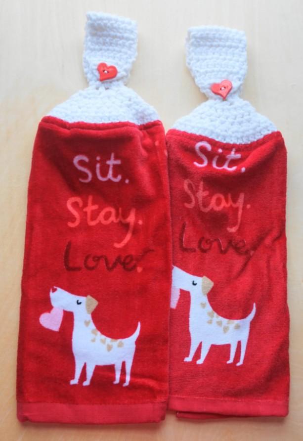 Doggy Love Crochet Kitchen Towel