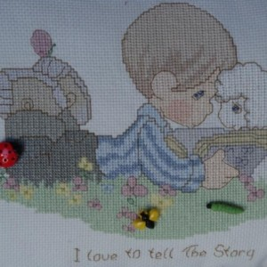 Precious Moments Child's Room Pillow with Lamb and Cute Bug Emellishments