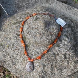 Necklace -Jasper Pendant with orange agates and copper wire