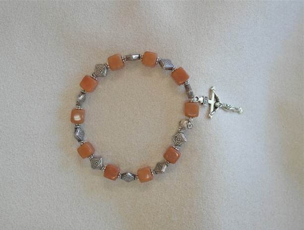 One Decade Rosary Bracelet of Peach Aventurine with Silver Findings