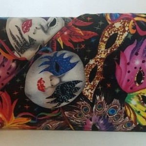 Masquerade Collection Wallet with cell pocket - Mask Mardi Gras print - multicolor