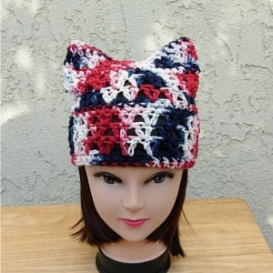 Red White and Blue Pussy Cat Hat, Women's PussyHat, Summer 100% Cotton Lightweight Crochet Knit Beanie, 4th of July Hat, Patriotic, Fourth of July Hat, Ready to Ship in 3 Days
