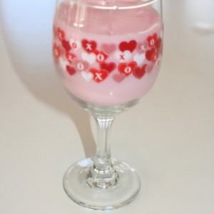 Valentine's Day Red and Pink Hearts Wine and Roses Scented 12 oz Pink Soy Wax Wine Glass Candle