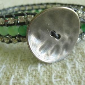 Leather wrap beaded cuff bracelet in green and rhinestones, designer look