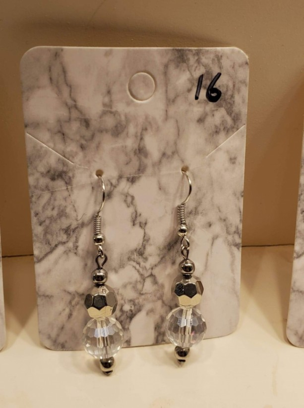 Silver and clear bead earrings