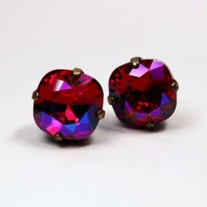 Fuchsia Swarovski Crystal Stud Earrings