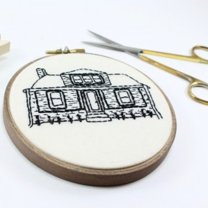 "4"" Custom Embroidery House Portrait"