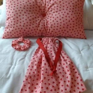 Handmade Valentine's Day Themed Items, Heart Design Handmade Pillows, Reusable Cloth Gift Bags, Valentine's Gifts For Her, Pink Scrunchie