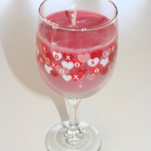 Valentine's Day Red and Pink Hearts Muscadine Scented 12 oz Pink Soy Wax Wine Glass Candle