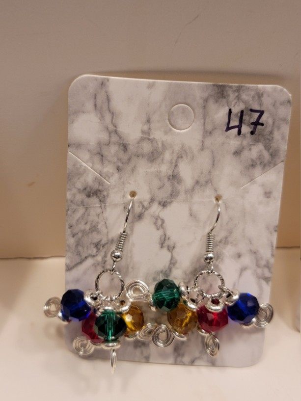Multicolored beads with spiral design earrings