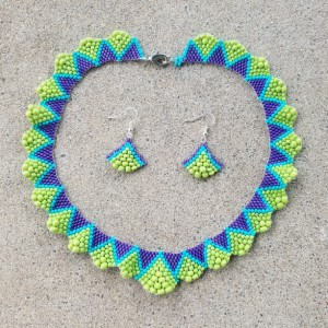 Ruffle necklace and earrings in green aqua and purple