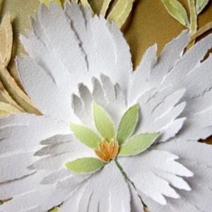 Torn Paper-White Peony, 8 X 10