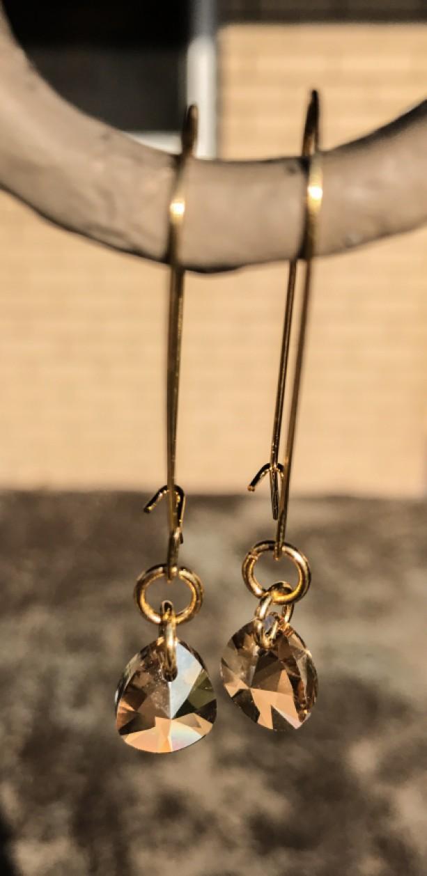 gold filled Swarovski Champagne teardrop dangle earrings