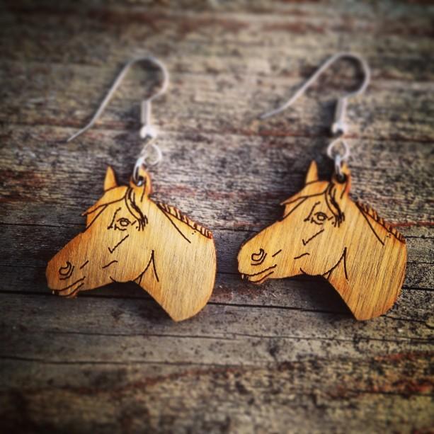 Wooden Horse Head Earrings Free Us Shipping