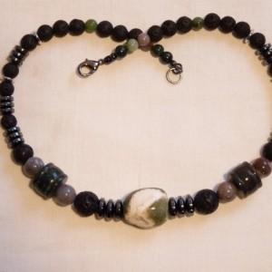 Ocean Jasper Hematite Necklace