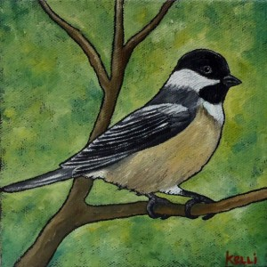 """Black-capped Chickadee 3"" original painting"