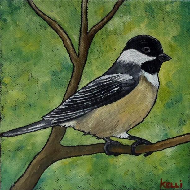 """Black-capped Chickadee 3"" original painting"