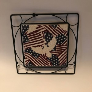 Custom Trivets-Ceramic Tile Trivet-American Flag-Black Metal Square Holder-Kitchen and Dining-Kitchenware-Personalized Trivet-Kitchen Gifts