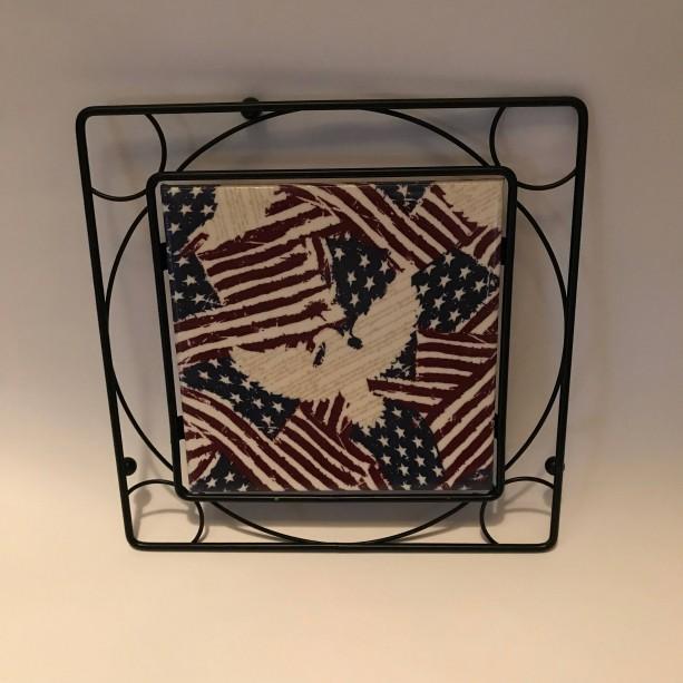 Custom TrivetsCeramic Tile TrivetAmerican FlagBlack Metal Squa - Custom photo trivet
