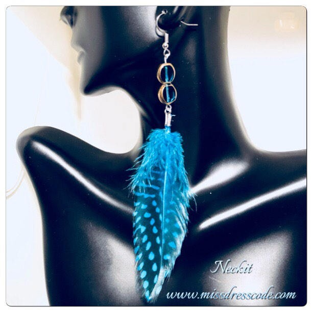 Turquoise Asymmetrical Feather Earrings