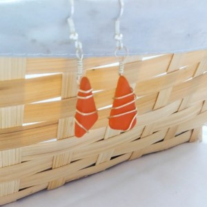 Orange sea glass earrings, orange sea glass jewelry, orange earrings, orange jewelry, sea glass, beach glass, wire wrapped earrings, silver
