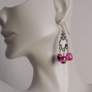 Pink Glass Dangle Earrings