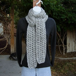 Light Gray Tweed Scarf, Color Options, Soft Crochet Knit Narrow Chunky Thick Winter Women's Men's Lightweight Wool Wrap, Traditional Regular