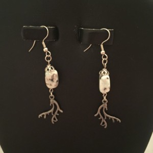 Sterling Silver and Kiwi Jasper with Pewter Antlers Earrings