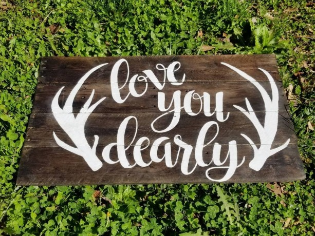 Love you dearly nursery sign, child room decor, deer antler decor, rustic nursery, kids room pallet sign, kid bedroom wall hanging wood sign
