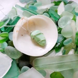 Pale green sea milk glass necklace, silver wire, green milk glass necklace, green sea glass necklace, milk glass jewelry, sea glass jewelry