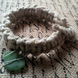 Macrame Thick Hemp Bracelet with Wire Wrap Green Stone