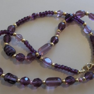 purple & gold glass necklace